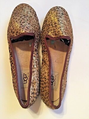 3028c69846b UGG WOMENS 5 Alloway Metallic Leopard Calf Hair Shoes Flats 1005311