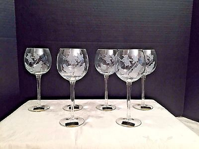 Six Hand Blown-Hand Cut Toscany Made In Romania Wine Glasses W/ Floral Design