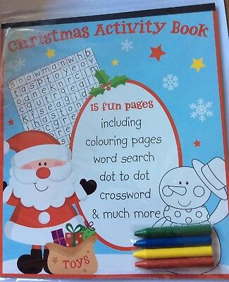 2 x Childrens Christmas Activity Pack Book Crayons