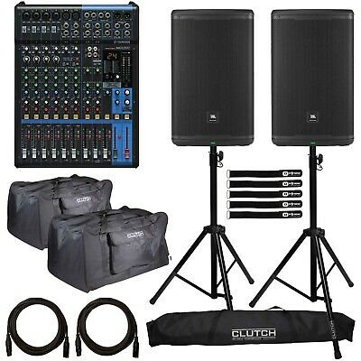 "JBL EON615 15"" Powered DJ PA Loud Speakers Pair with Yamaha MG12XU Mixer Package"