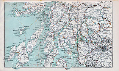 Glasgow-Oban 1908 small orig map + guide (6 p) Lochgoilhead Arrochar Helensburgh
