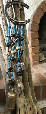 """COUNTRY WESTERN HORSESHOE Wind Chime Cow Bells Turquoise Crow Beads MORE 21"""""""