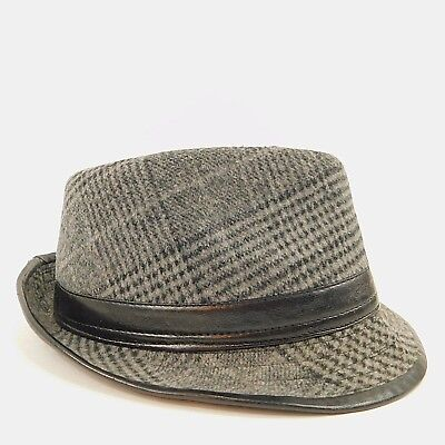 458b9f716bf99 Westend Mens Size Large XL Fedora Hat Black Gray Faux Leather Band %100  Cotton