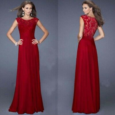 Women Evening Dress Formal Party Cocktail Gown Prom Long Lace Chiffon Bridesmaid