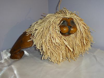 Lion Wood Raffia Decorative Collectible Wooden African Jungle Statue Figure