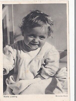 1950s Cute little baby girl smiling child photo old German postcard