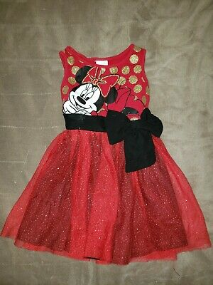 low priced 38414 99abc Toddler Girls sz 3T Disney Minnie Mouse Red Tank Tulle Dress w Gold Polka  Dots