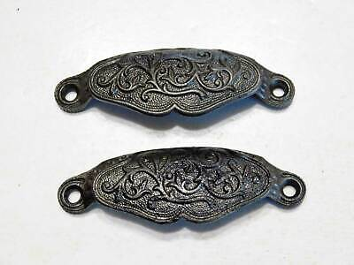 Two Matching Victorian Era Antique Bin Pulls Drawer Pulls in Ornate Cast Iron