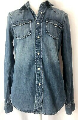 152cce33e8 AMERICAN EAGLE DARK Denim Shirt Favorite Fit Western Women s XS ...
