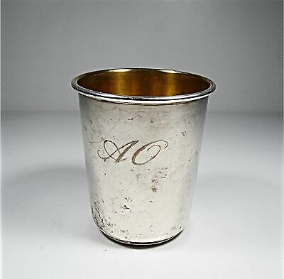 Antique French Sterling Silver Wine Cup Whit Initials ( A - O )
