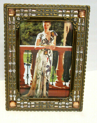 """4X6"""" Antique Vintage Style Gold Brass Amber Crystals Jeweled Picture Frame"""