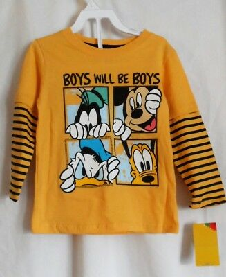 Boys 3T Yellow Mickey Mouse & Friends Boys Will Be Boys L/s Shirt Nwt ~ Disney