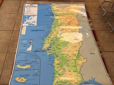 """2009 GeoAtlas Laminated Map Of Portugal ~ 57""""X80"""" ~ MSRP $ 375"""