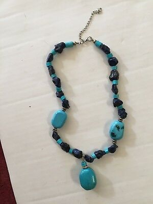 Gorgeous rough Lapis Lazuli? with Turquoise Blue stone Necklace ~ 18 inches
