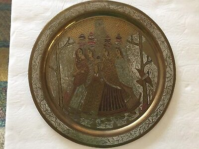 "Vintage Etched Hand Painted Brass Plate/ Charger 11 1/2"" 4 Women with Jugs"