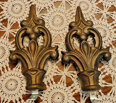 "Vintage Pair Fleur de Lis Heavy Metal Curtain/Drapery Tie Backs ~ 8"" L X 4""W"