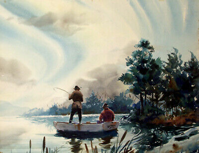 John Pike, Fishermen, Double-Sided Watercolor Painting