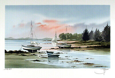 Steffano, Sailboats in Cove, Lithograph