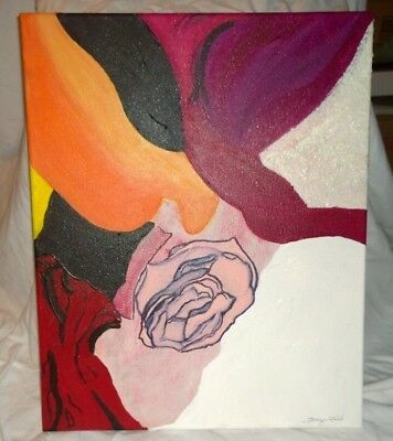 "Fine Art/acrylic,painting ""Floating Rose"",Original signed,Terry Lash 16X20"