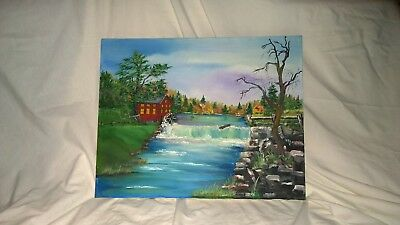 "fine art Original 16X20 acrylic painting signed by artist Terry Lash ""The Mill"""