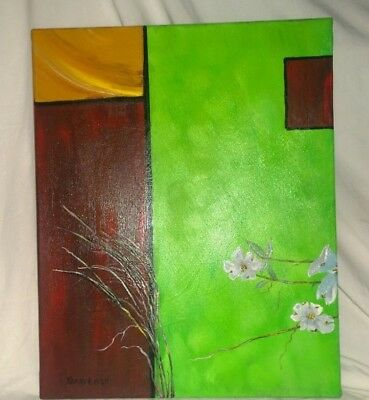 "fine art Original 16X20 acrylic painting signed by Terry Lash ""cubed dogwood"""