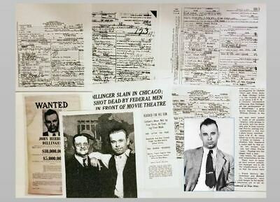 John Dillinger Photo + DEATH CERTIFICATE Lot + Gangster Baby Face Nelson + More!