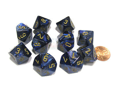 Set of 10 Chessex Scarab D10 Dice - Royal Blue with Gold Numbers