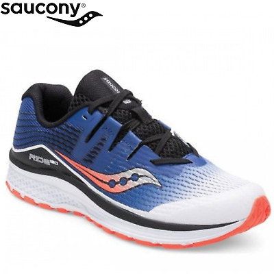 Saucony Boys Youth S-Ride ISO Sneakers Runners Shoes - White/Blue/Vizi Red
