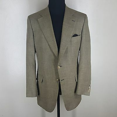 PAUL STUART Hopsack Blazer 45%Linen 55%Wool 2 Btn Center Vent   Fit 43-45 Long