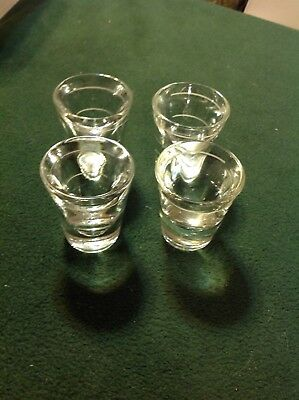 "Lot Of 4 - 2 1/4"" INCH TALL EXTRA THICK HEAVY GLASS WHITE LINE - Shot Glass"