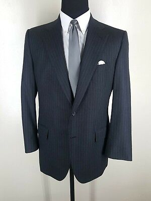 PAUL STUART Vintage Bespoke Wool Suit  Pleated Pants 2 Btn  1 Vent  Fit 44 Reg