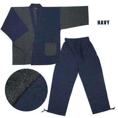Traditional Japanese Mens Work Wear SAMUE Set Navy x Gray XL Japan with Tracking