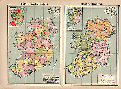 1929 Map ~ Ireland Parliamentary & Historical Anglo-Norman Occupation