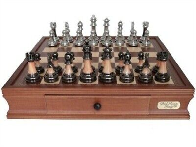 """Dal Rossi Metal/Marble Finish Pieces 16"""" Chess Board with Drawers Set"""