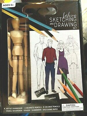 "Sketching And Drawing Set With 8"" Artist Mannequin + Accessories"