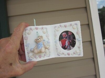 Ceramic Porcelain Picture Frame Painted Heart Toys 3D Bear Simson Giftware c1970