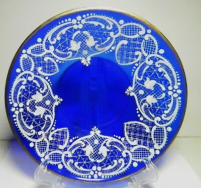"Vintage French Cobalt Blue Glass 6"" Plate-Handpainted White Enamel Scrolls"