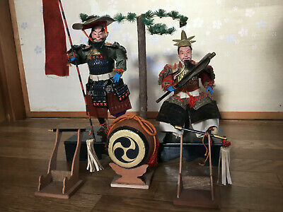 2 Antique SAMURAI Japanese NINGYO Doll SHOGUN MUSHA DAIMYOU in YOROI Armor
