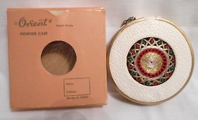 VTG LEATHERETTE & EMBROIDED COMPACT W/ MIRROR by ORIENT - ISRAEL /WBOX 1950s
