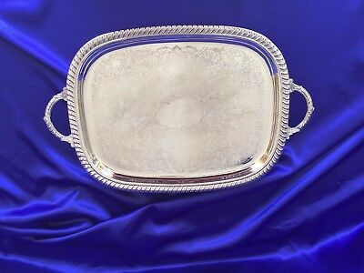 "Leonard Large 18""x14"" Footed Waiter Tray Handles and Gadroon Edge Silver Plate"
