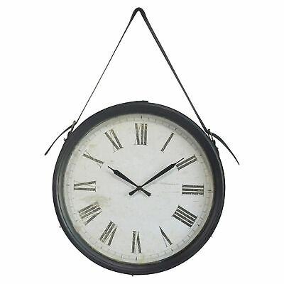 NEW 54cm Faux Leather Strap Hanging Wall Clock - Global Gatherings,Clocks