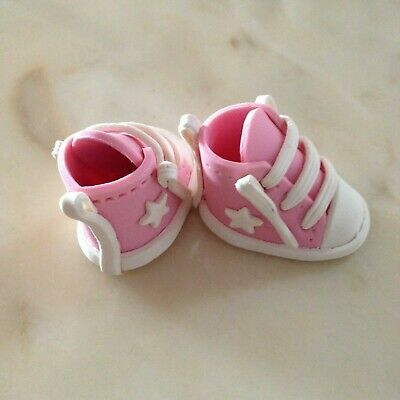 Edible Baby Booties Pink Small Pair Cake Topper Birthday Baby Shower Christening