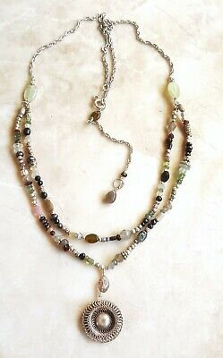 Multi Gemstone Hill Tribe Boho Sterling Silver Chain Layered Necklace  Sundance