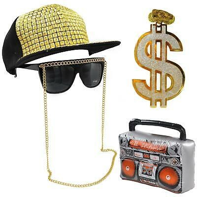 Anni 90 Costume Hip Hop Run DMC Rapper Boom Box Catena Cappello Occhiali Kit