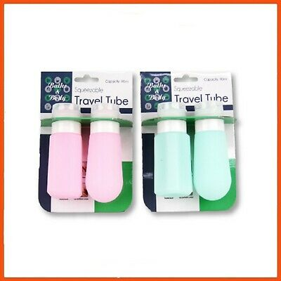 12 x 90 ML REFILLABLE TRAVEL TUBES 2 PACK | Silicone Toiletry Bottle Shampoo