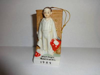 Norman Rockwell 1989 Christmas Tree Ornament Porcelain Discovery NRX-89
