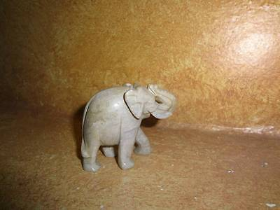 "Marble Carved Elephant Figure Trunk Up 2"" x 2.5"" Early 1980's Tan Brown"