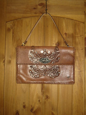 Vintage Leather Hand Tooled Purse Carved Butterfly Bag Handbag Ladies Brown