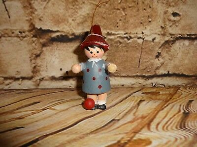 Vintage Wooden Wood Figure Ball Christmas Tree Ornament Holiday Decoration