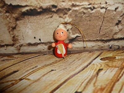 Vintage Wooden Wood Mrs. Claus Christmas Tree Ornament Holiday Decoration